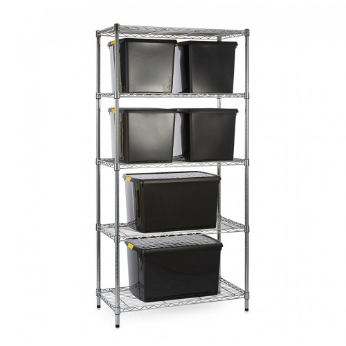 Chrome Wire Shelving Unit plus 6 Black Recycled Storage Boxes - H1800 x W900 x D450mm