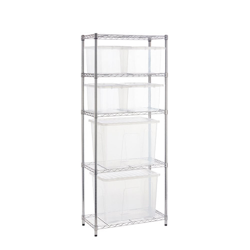 Chrome Wire Shelving Unit plus 6 Clear Storage Boxes - H1800 x W750 x D350mm