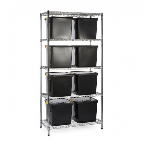 Chrome Wire Shelving Unit plus 8 Black Recycled Storage Boxes - H1800 x W900 x D450mm