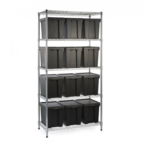 Heavy Duty Chrome Wire Shelving Unit plus 12 Black Storage Boxes - H1800 x W900 x D450mm