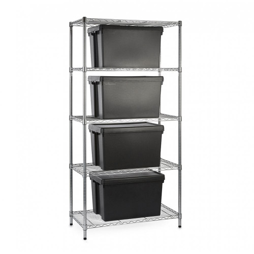 Heavy Duty Chrome Wire Shelving Unit plus 4 Black Storage Boxes - H1800 x W900 x D450mm