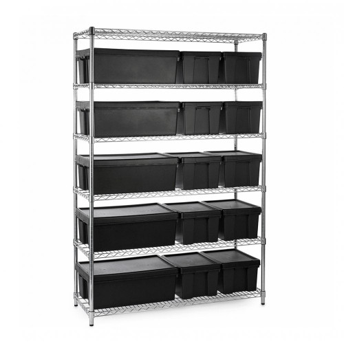 Heavy Duty Chrome Wire Shelving Unit plus 5 Black Storage Boxes - H1800 x W1200 x D450mm