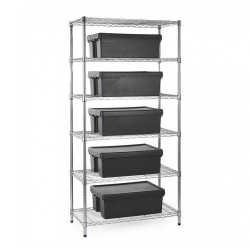 Heavy Duty Chrome Wire Shelving Unit plus 5 Black Storage Boxes - H1800 x W900 x D450mm