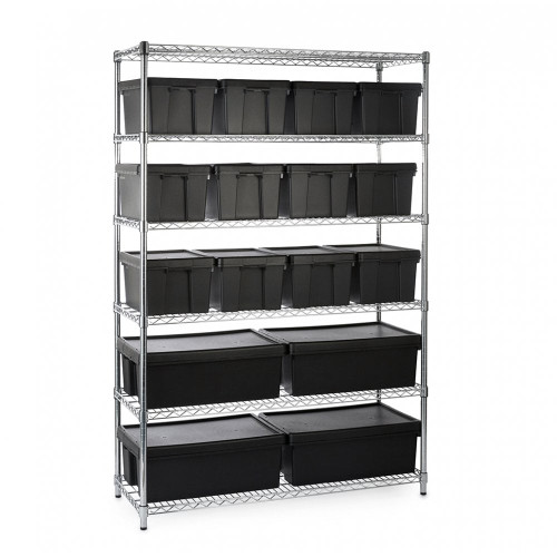 Heavy Duty Chrome Wire Shelving Unit plus 6 Black Storage Boxes - H1800 x W1200 x D450mm