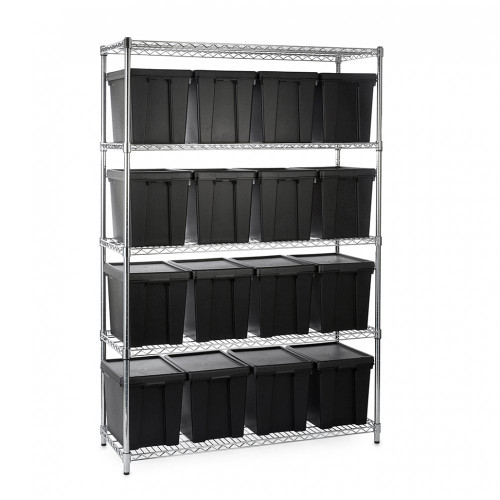 Heavy Duty Chrome Wire Shelving Unit plus 8 Black Storage Boxes - H1800 x W1200 x D450mm