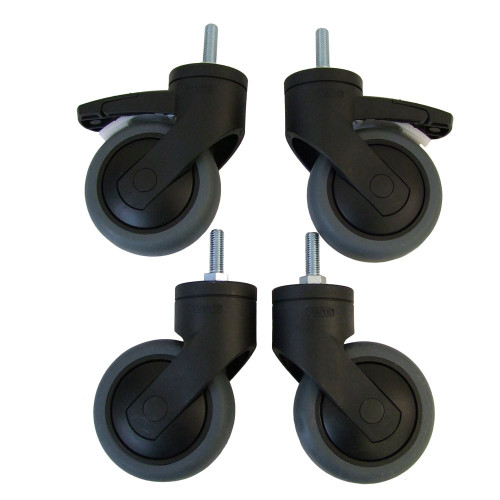 Pack of 4 Heavy Duty Castor Wheels for Chrome Wire Shelving - ø75mm - 225kg Load Capacity