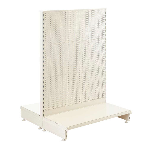 Jura White Retail Shelving Gondola Unit with Perforated Back Panels - H1400 x W1000mm