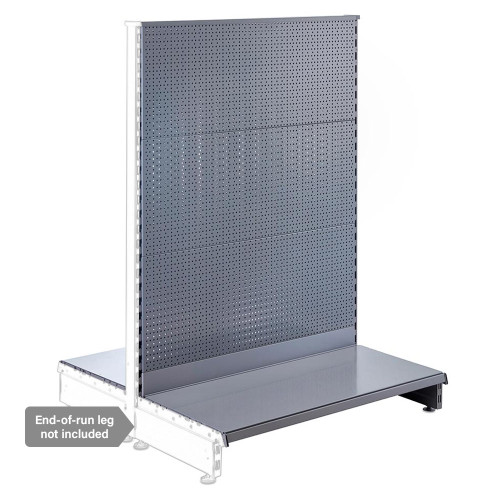 Silver Retail Shelving Modular Gondola Unit with Perforated Back Panels - H1400 x W1000mm