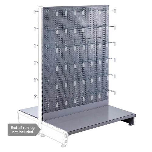Silver Retail Shelving Modular Gondola Unit - Perforated Back Panels, Euro Hooks, Tickets Holders