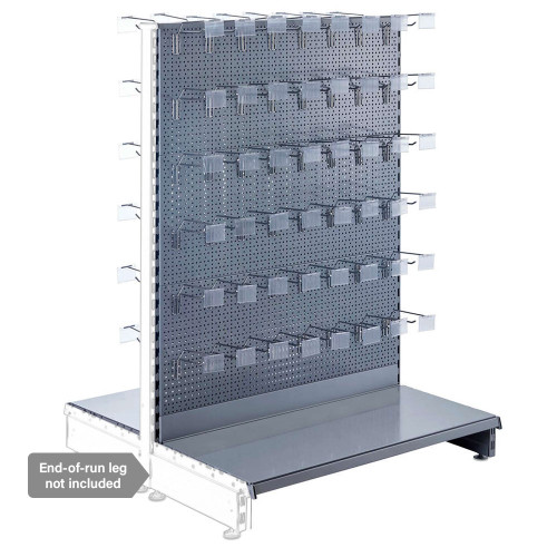 Silver Retail Shelving Modular Gondola Unit - Perforated Back Panels, Single Arms, Tickets Holders