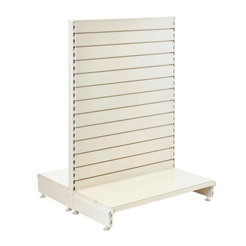 Jura White Retail Shelving Gondola Unit with Slatwall Back Panels - H1400 x W1000mm