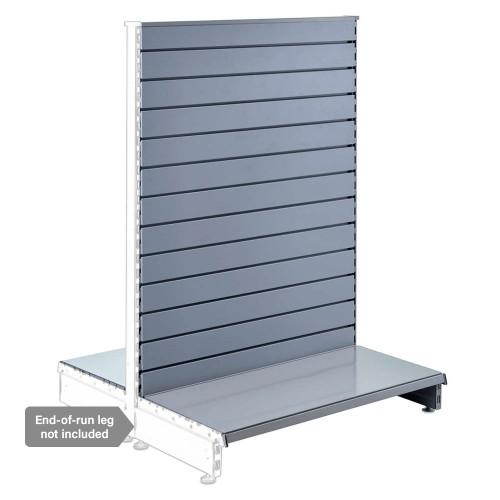 Silver Retail Shelving Modular Gondola Unit with Slatwall Back Panels - H1400 x W1000mm