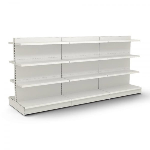 Jura White Retail Gondola Shelving - 3 x Bays, 18 x 370mm Shelves