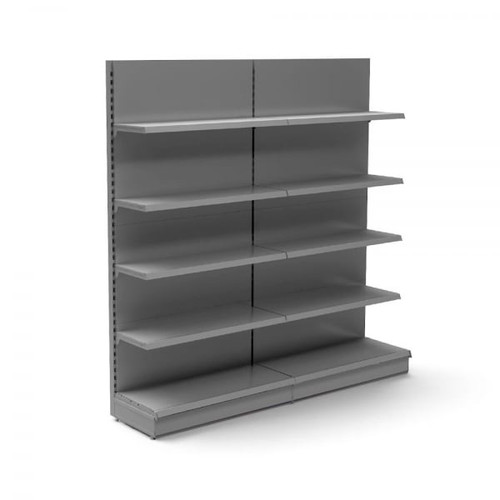Silver Retail Wall Shelving - 2 x Bays, 8 x 370mm Shelves