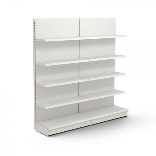 Jura White Retail Wall Shelving - 2 x Bays - 8 x 370mm Shelves - H2100 x W1250mm Each Bay