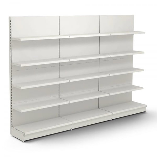 Jura White Retail Wall Shelving - 3 x Bays - 12 x 370mm Shelves - H2100 x W1250mm Each Bay