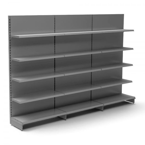 Silver Retail Wall Shelving - 3 x Bays - 12 x 370mm Shelves - H2100 x W1250mm Each Bay