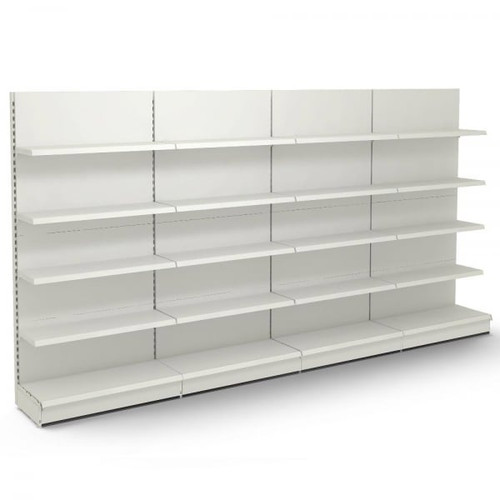 Jura White Retail Wall Shelving - 4 x Bays - 16 x 370mm Shelves - H2100 x W1250mm Each Bay