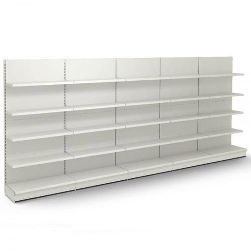 Jura White Retail Wall Shelving - 5 x Bays - 20 x 370mm Shelves - H2100 x W1250mm Each Bay