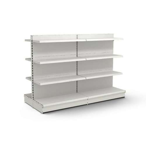 Jura White Retail Gondola Shelving - 2 x H1400 x W1250mm Bays - 12 Shelves