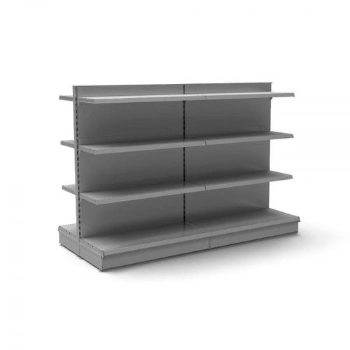 Silver Retail Gondola Shelving - 2 x Bays - 12 x 370mm Shelves - H1400 x W1250mm Each Bay