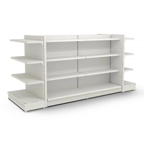 Jura White Retail Gondola Shelving - 2 x H1400 x W1250mm Bays & 2 x End Bays - 18 Shelves