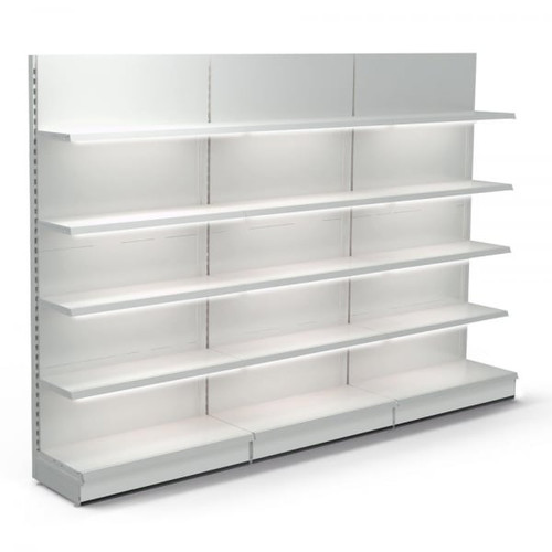 Jura White Retail Wall Shelving with LED Lighting - 3 x H1800 x W1000mm Bays - 12 Shelves