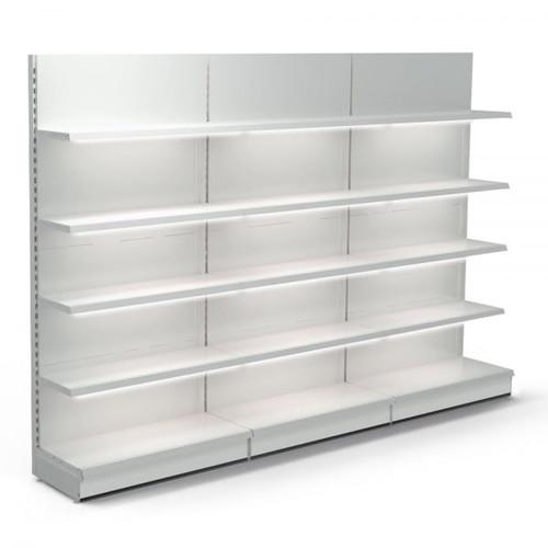 Jura White Retail Wall Shelving with LED Lighting - 3 x H1800 x W1250mm Bays - 12 Shelves
