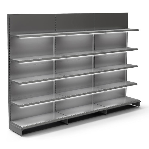 Silver Retail Wall Shelving with LED Lighting - 3 x H1800 x W1250mm Bays - 12 Shelves