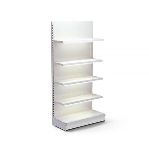 Jura White Retail Wall Shelving with LED Lighting - H2100 x W1000mm - 4 Shelves