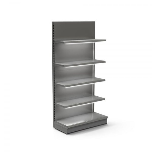 Silver Retail Wall Shelving with LED Lighting - H1800 x W1000mm - 4 Shelves