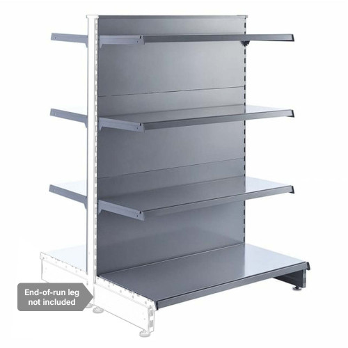 Silver Retail Shelving Modular Gondola Unit - 6 x 370mm Shelves - H1400mm