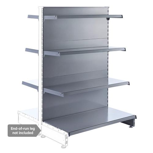 Silver Retail Shelving Modular Gondola Unit - 6 x Staggered Shelves - H1400mm