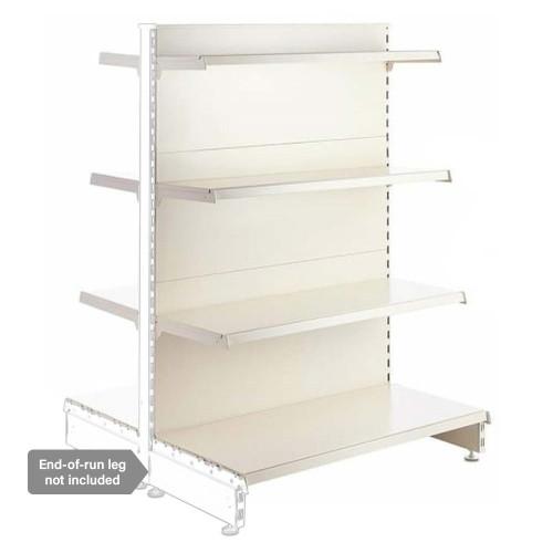 Jura White Retail Shelving Modular Gondola Unit - 6 x Staggered Shelves - H1400mm