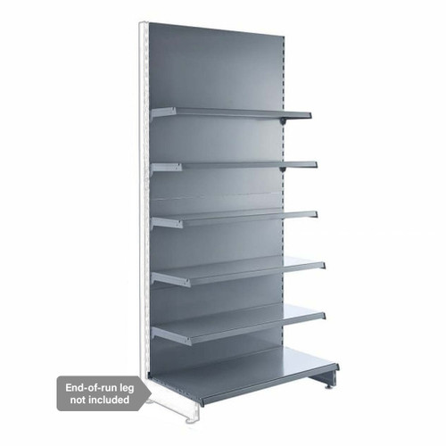 Silver Retail Shelving Modular Wall Unit - 5 x Staggered Shelves