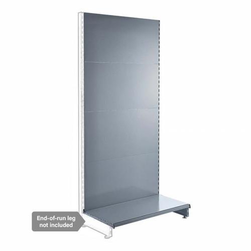 Silver Retail Shelving Modular Wall Unit - Plain Back Panels - Base Shelf Only