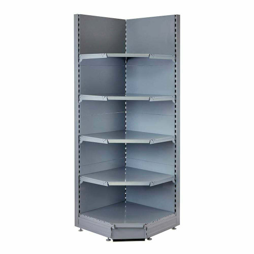 Silver Retail Shelving 90 Deg. Wall Corner Unit - 4 x 370mm Shelves - H1800mm