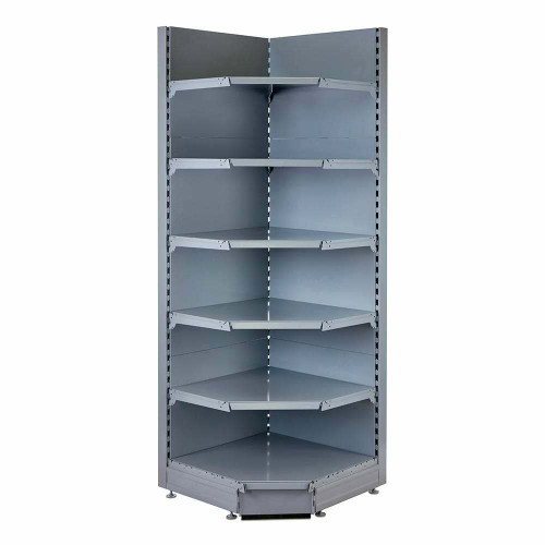 Silver Retail Shelving 90° Wall Corner Unit - 5 x 370mm Shelves