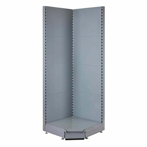Silver Retail Shelving 90° Wall Corner Unit - Base Shelf Only - W750mm