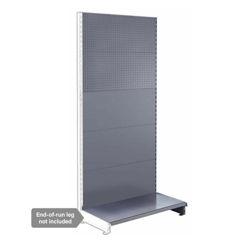 Silver Retail Shelving Modular Wall Unit - Plain & Perforated Back Panels - W1000mm