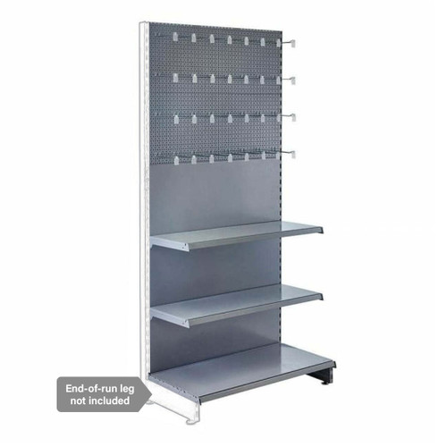Silver Retail Shelving Modular Wall Unit - Perforated Back Panels - 2 Shelves And 32 Euro Hooks