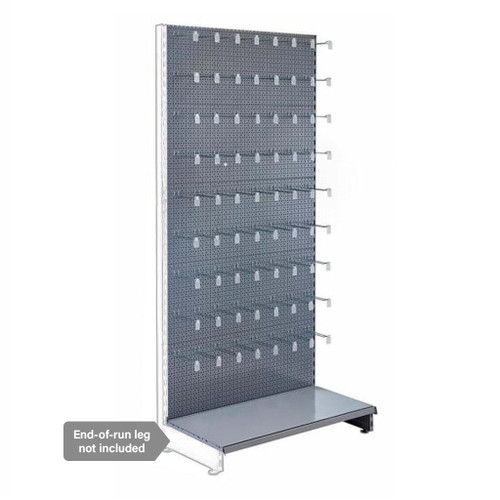 Silver Retail Shelving Modular Wall Unit - Perforated Back Panels and Euro Hooks - H1800 x W1000mm