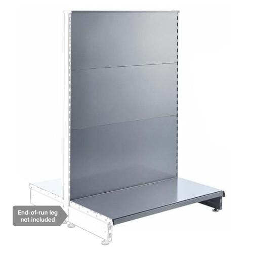 Silver Retail Shelving Modular Gondola Unit - Plain Back Panels - 2 x Base Shelves