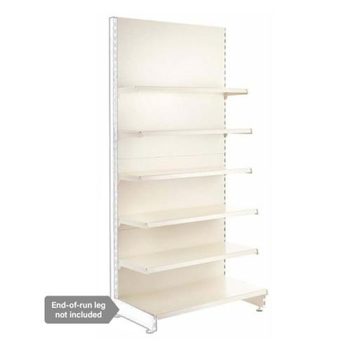 Jura White Retail Shelving Modular Wall Unit - 5 x Staggered Shelves - H1800mm