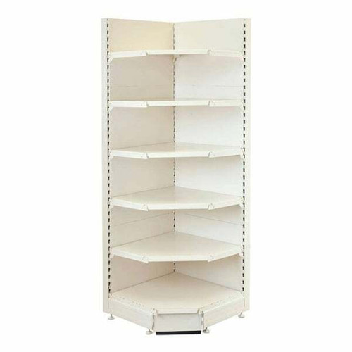 Jura White Retail Shelving 90 Deg. Wall Corner Unit - 4 x 370mm Shelves - H1800mm