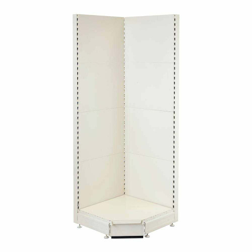 Jura White Retail Shelving 90° Wall Corner Unit - 1x Base Shelf
