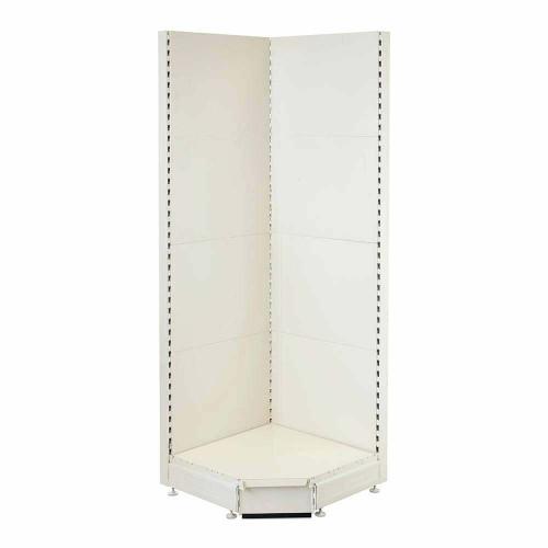 Jura White Retail Shelving 90 Deg. Wall Corner Unit - 1x Base Shelf - H1800 x W750mm