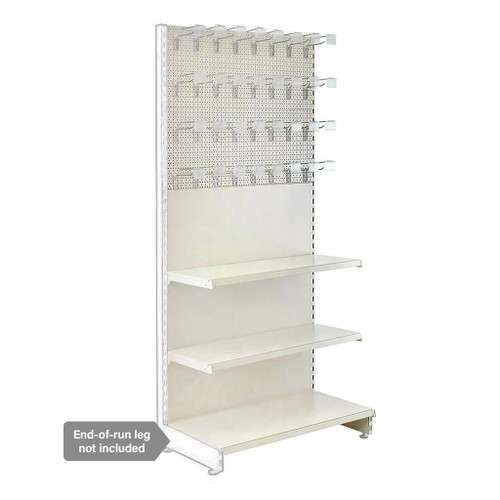Jura White Retail Shelving Modular Wall Unit - Perforated Back Panels - 2 Shelves and 32 Hooks