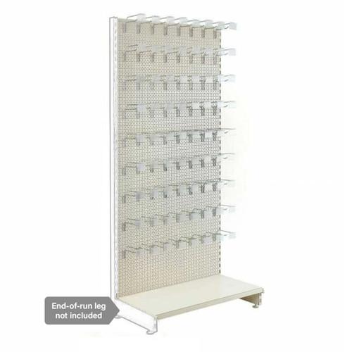 Jura White Modular Retail Shelving Unit - Perforated Panels and Single Hooks - H1800 x W1000mm