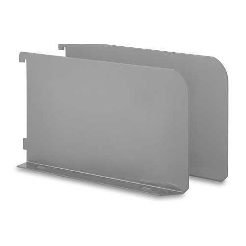 Pair of Silver Twin Slot Shelf Ends - 32mm Pitch